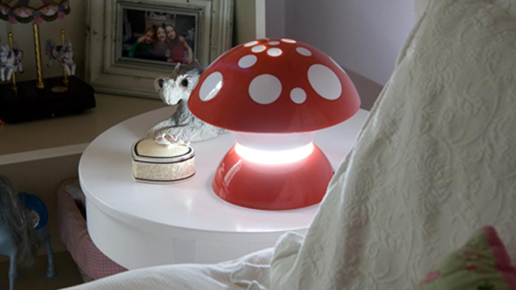 Mushroom Lamp on side table